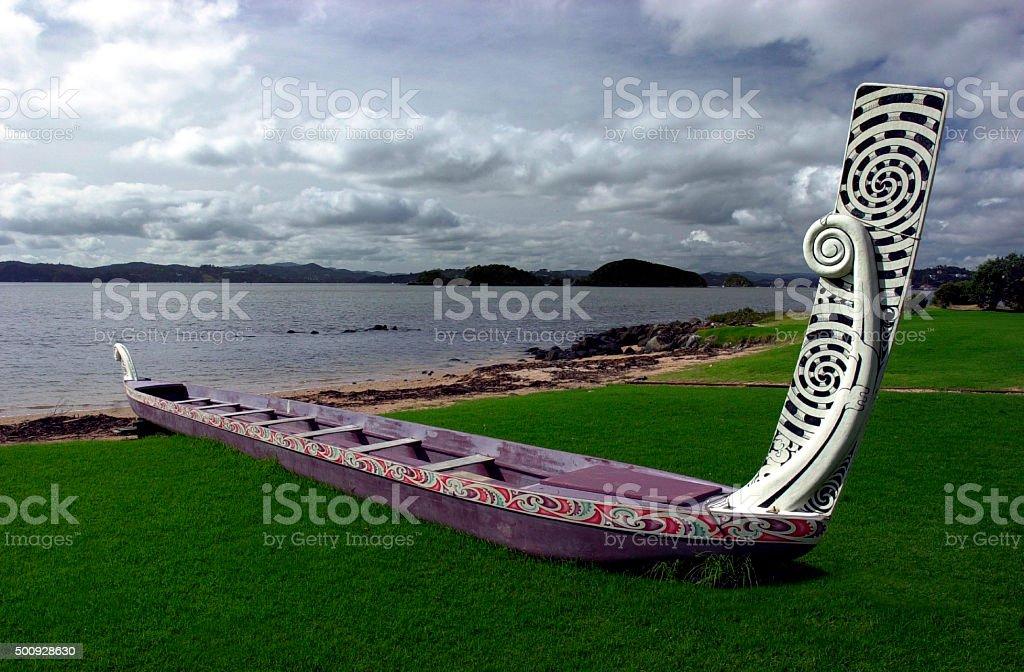 Traditional New Zealand Maori Waka stock photo