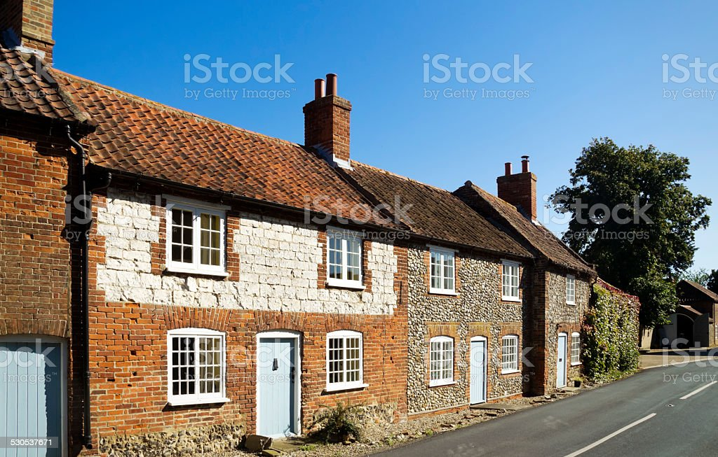 Traditional Norfolk cottages stock photo