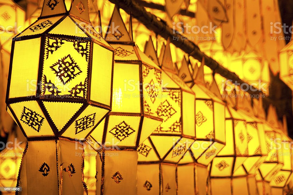 Traditional northern Thai style paper lamps royalty-free stock photo