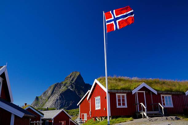 traditionelle norwegen - norwegen fahne stock-fotos und bilder