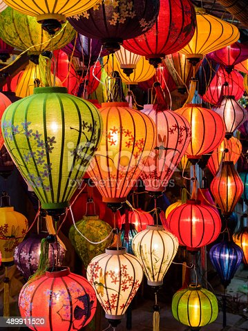 istock Traditional Oil Lamps in Hoi An, Vietnam 489911520