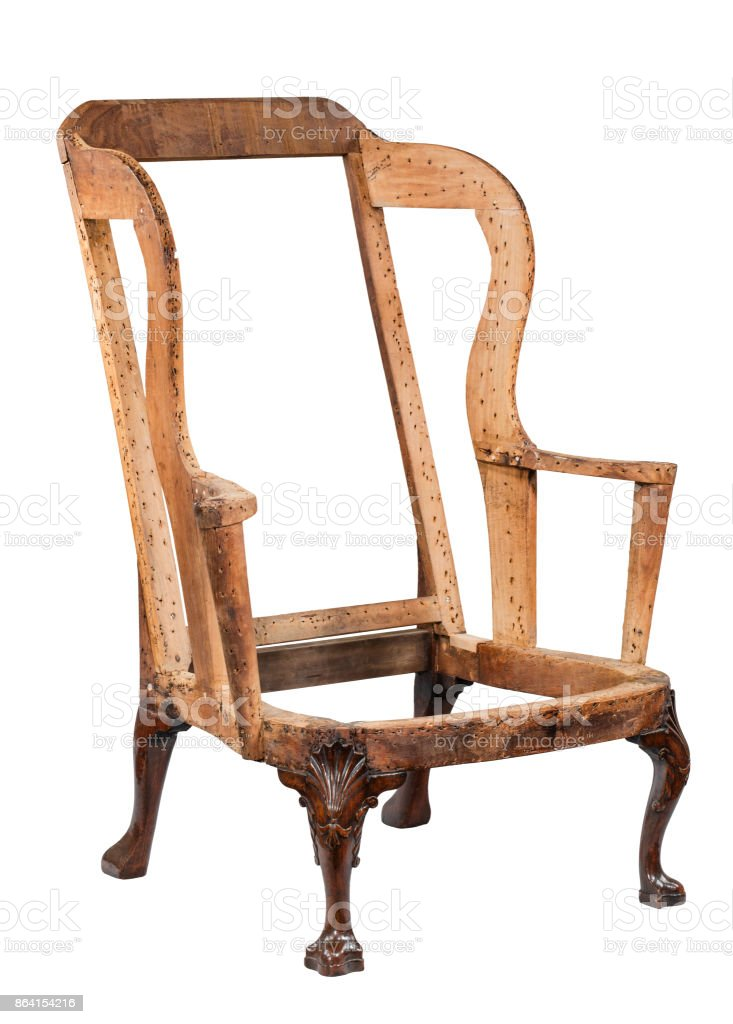 traditional old arm chair not upholstered yet royalty-free stock photo