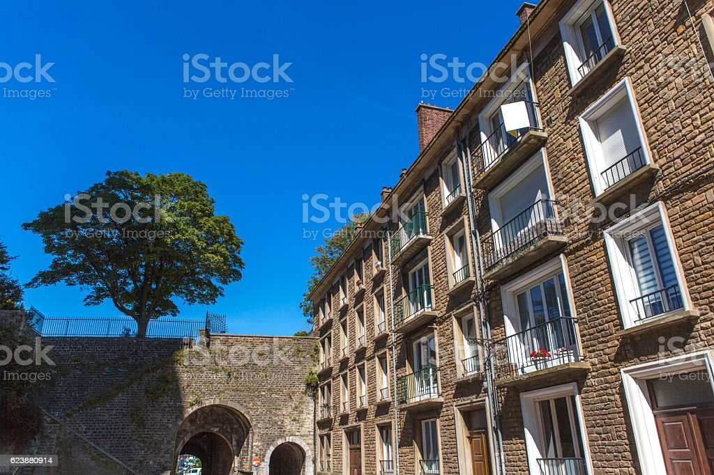 Traditional old buildings by street at boulogne-sur-mer at normandy france - Photo