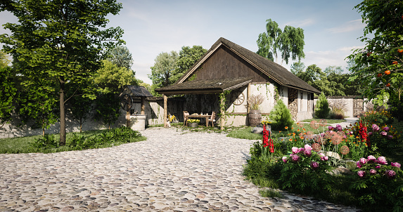 Digitally generated idyllic old small farmhouse scenery. A perfect place to meditate and relax.  The scene was rendered with photorealistic shaders and lighting in Autodesk® 3ds Max 2019 with V-Ray 3.7 with some post-production added.