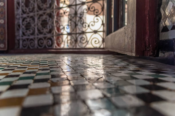 Traditional old Islamic Architecture Tiling in a window stock photo