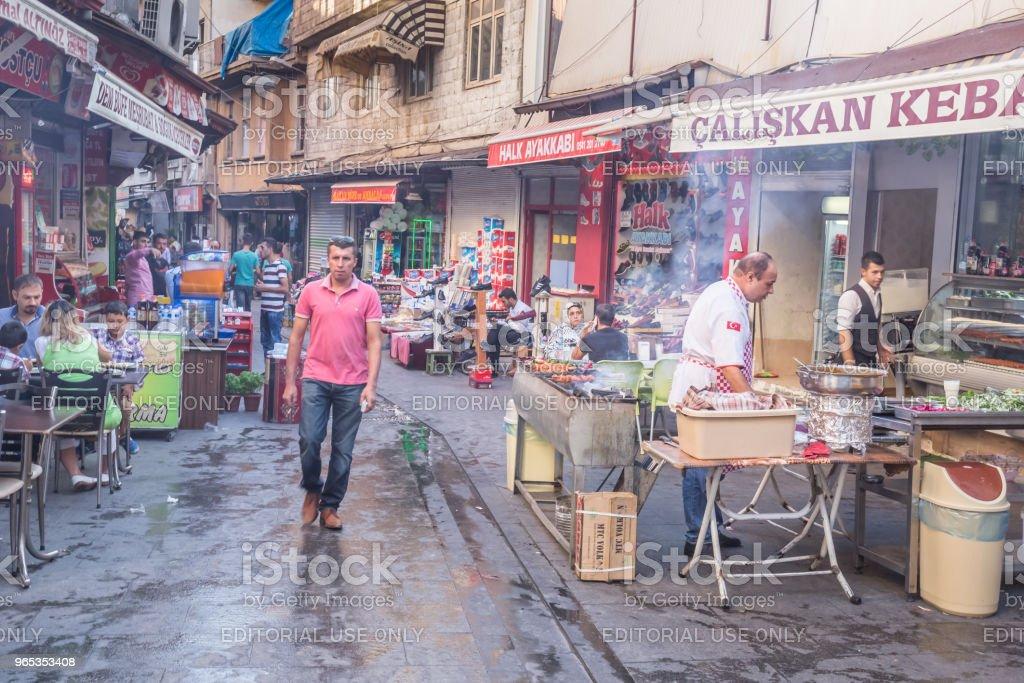 가지 암 텝 시, 터키의 전통 오래 된 돌 거리 - 로열티 프리 가지안테프 시 스톡 사진