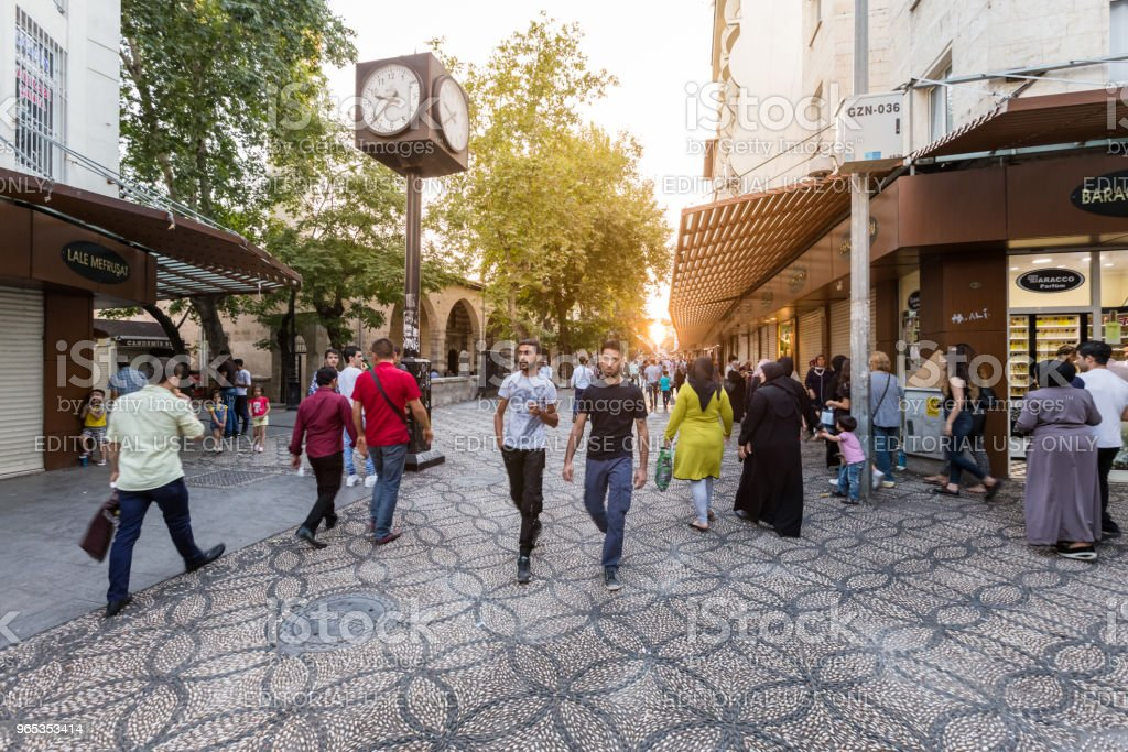 Traditional old stone streets of Gaziantep city,Turkey royalty-free stock photo