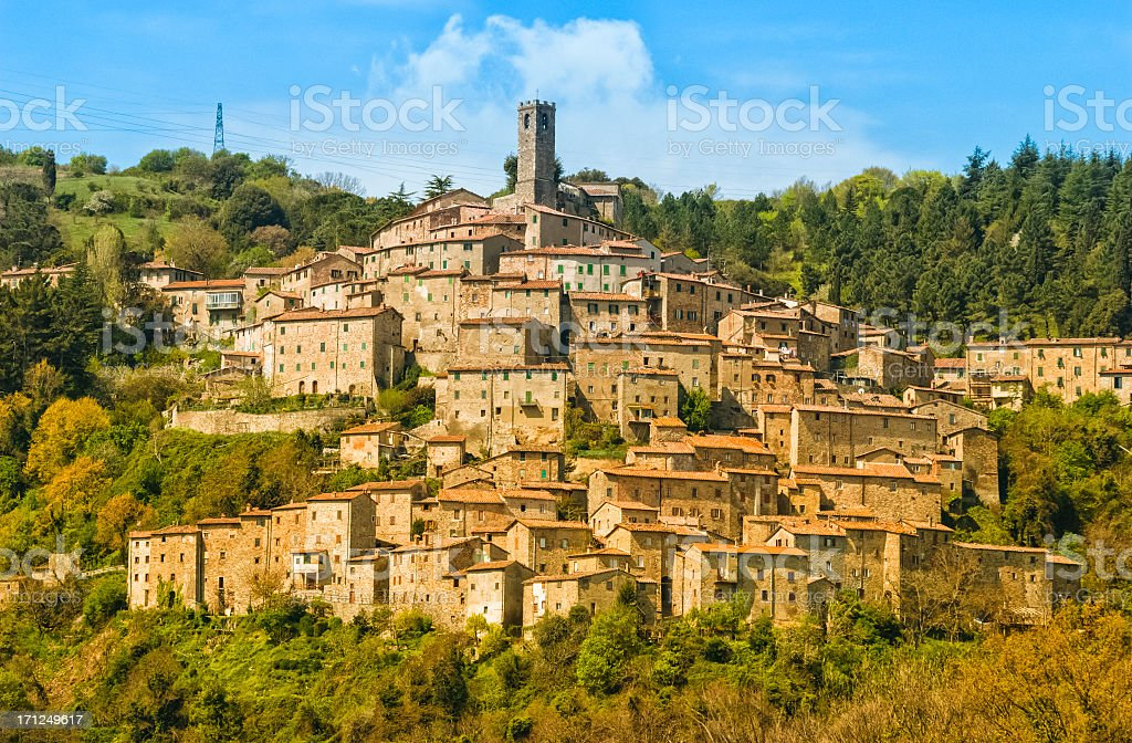 Traditional old town in Tuscany stock photo