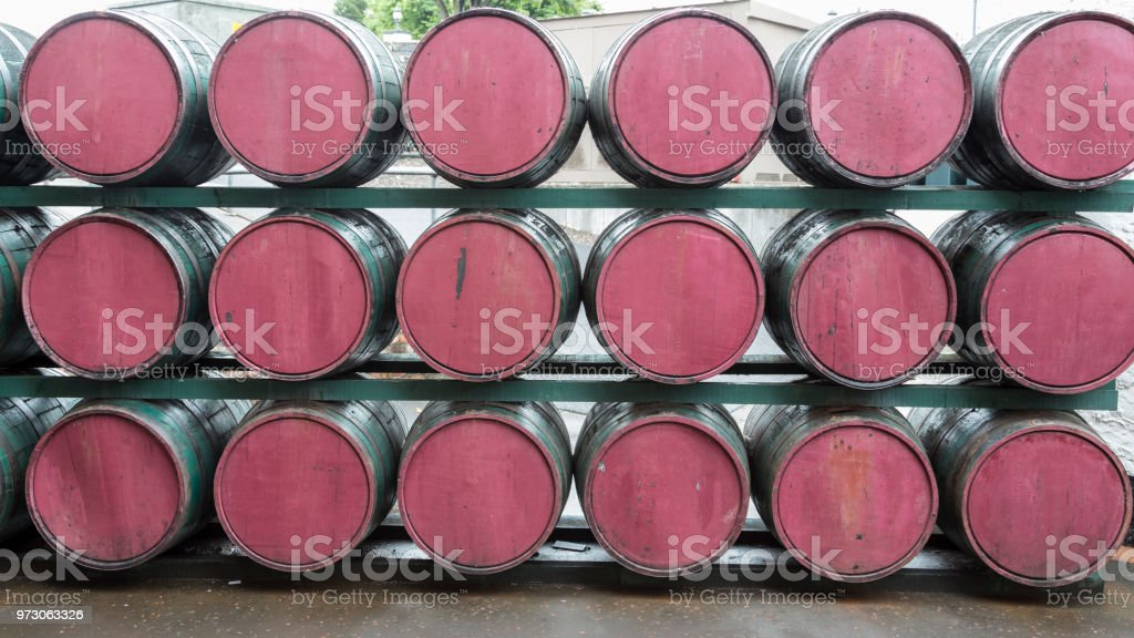 Traditional old wooden barrels. stock photo