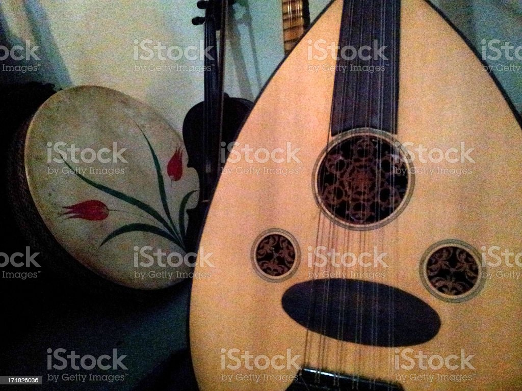 Traditional oriental instruments stock photo