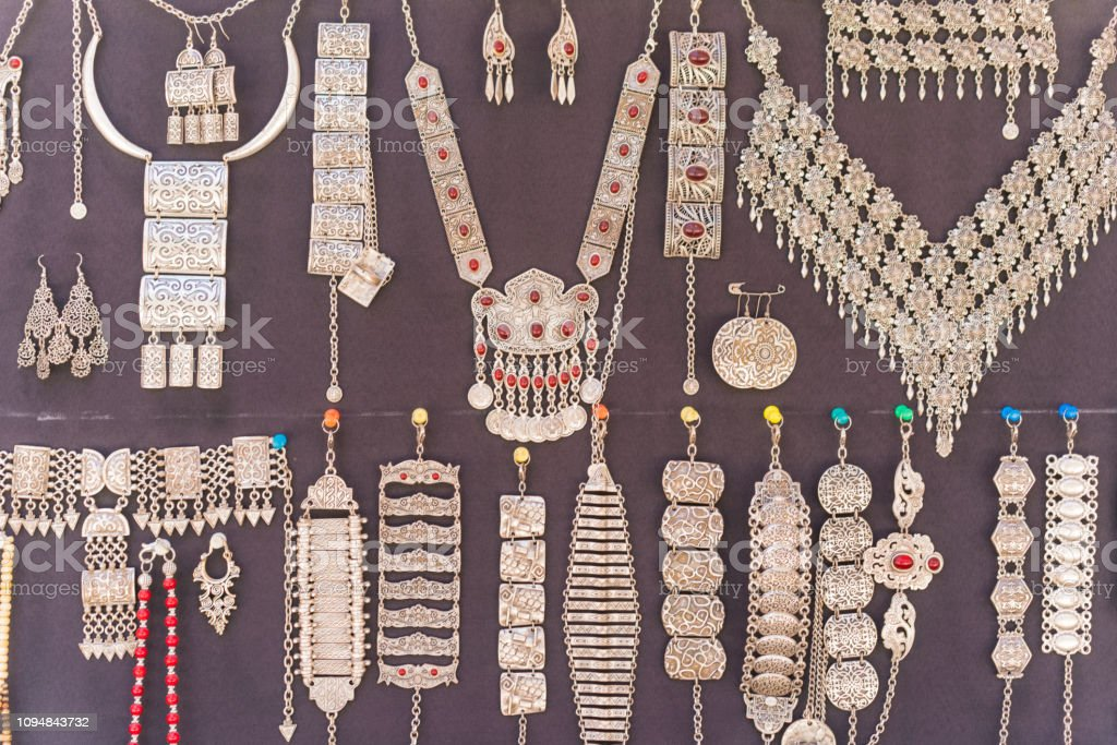 Traditional, oriental stone and silver woman accessories in the bazar in Bukhara, Uzbekistan stock photo