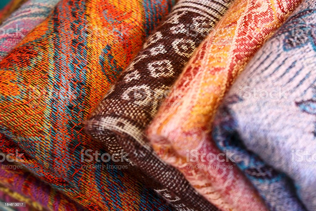 Traditional ornamental fabrics royalty-free stock photo