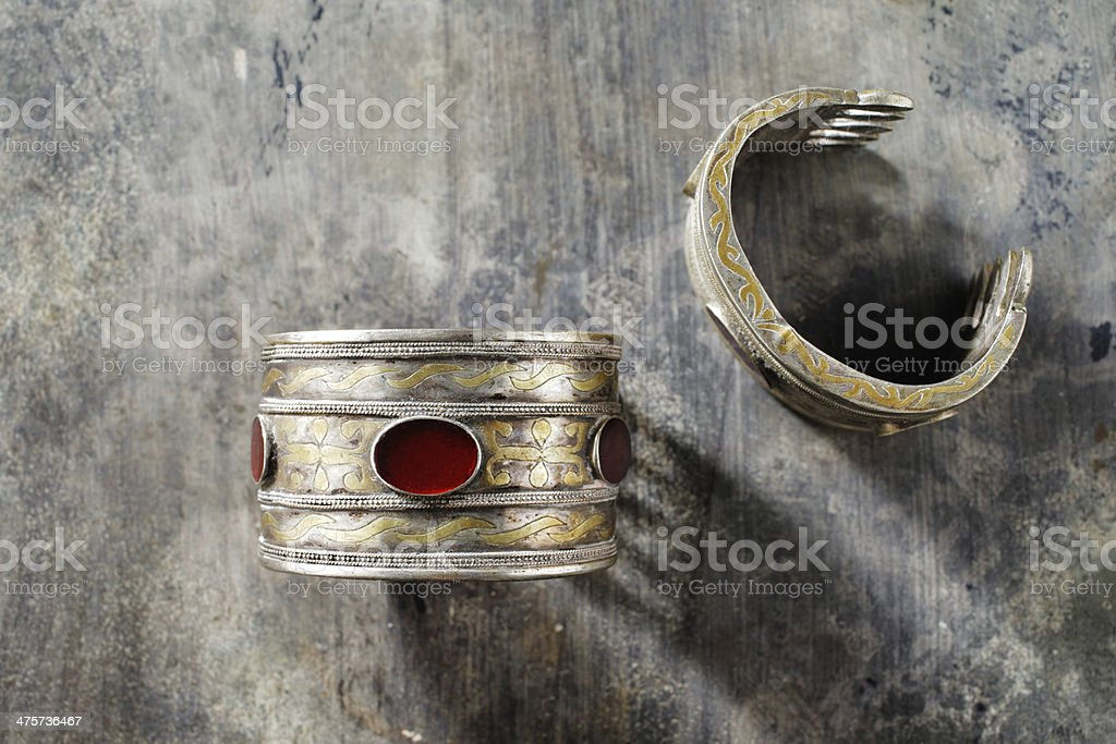 Traditional Ornate Afghani jewelry in the form of bracelets stock photo