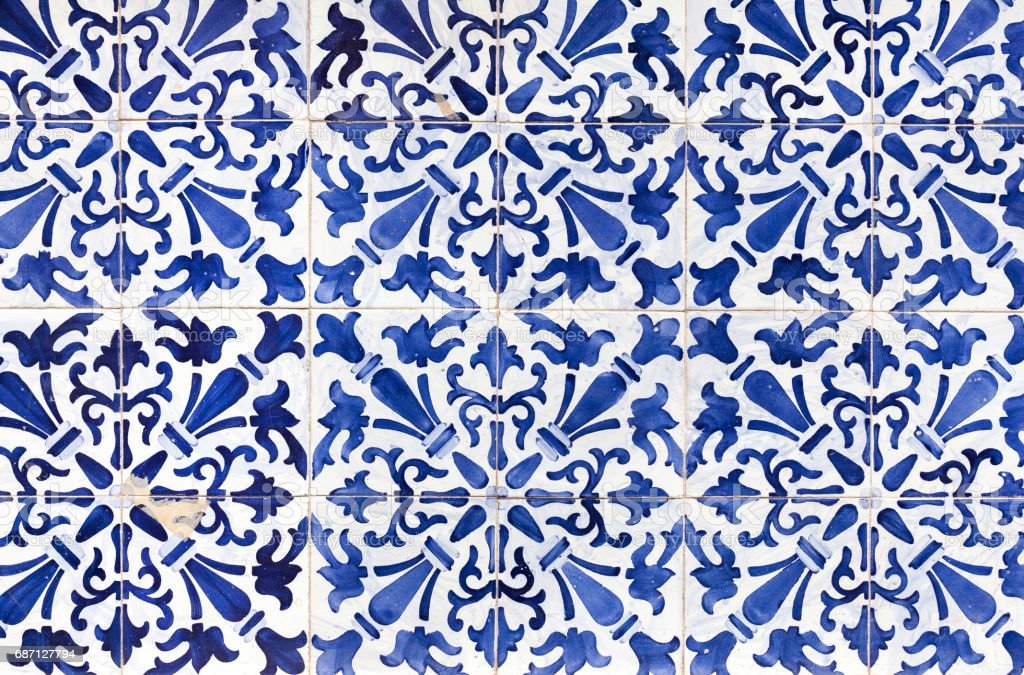 Traditional ornate portuguese decorative tiles azulejos - foto de acervo