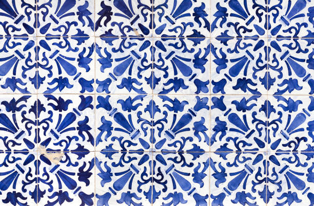 traditional ornate portuguese decorative tiles azulejos - tile stock photos and pictures