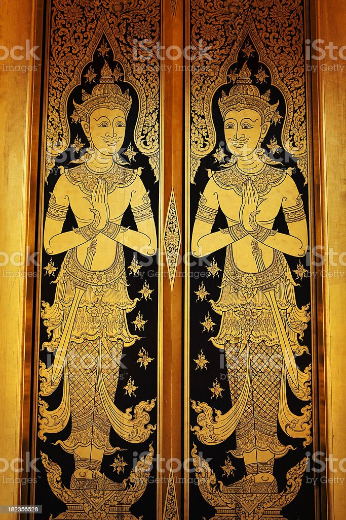 traditional ornate thai art gold motif floral pattern design background royalty-free stock photo