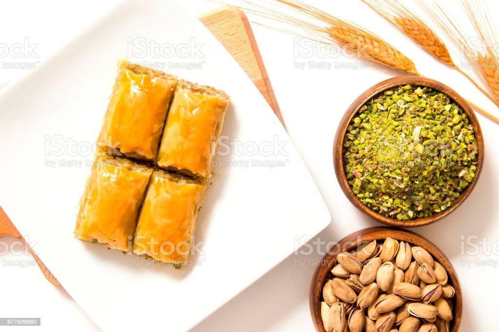traditional ottoman baklava with pistachio stock photo