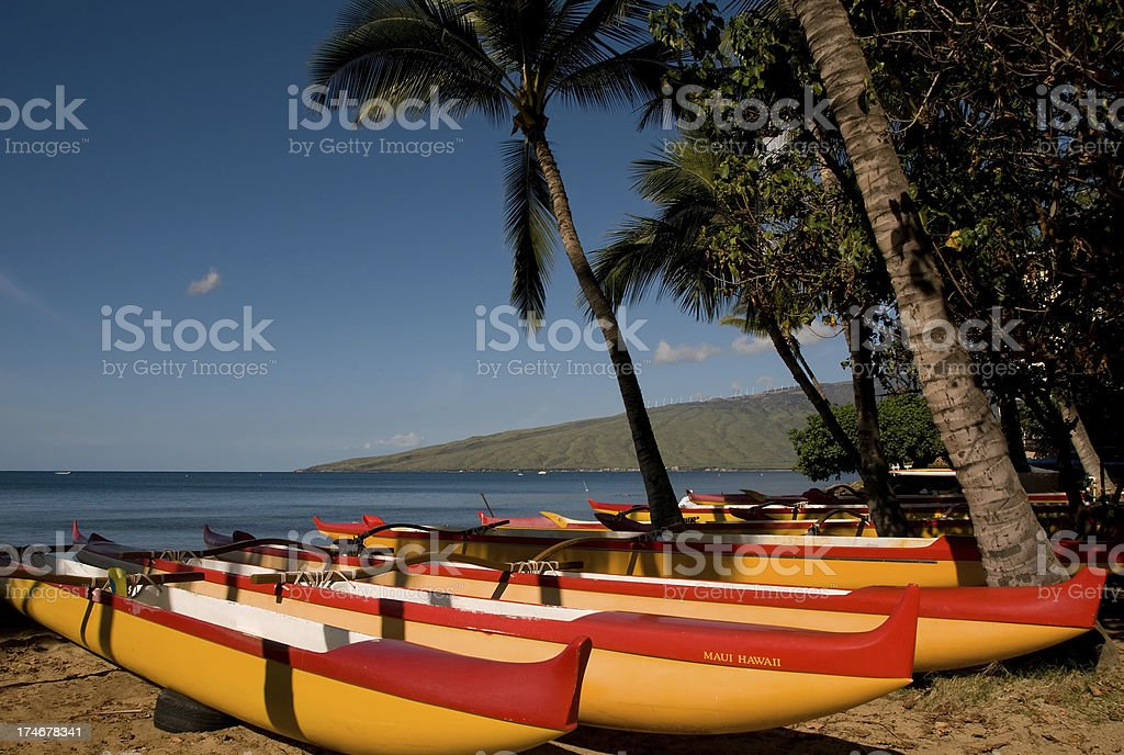 Traditional outrigger canoes on Maui royalty-free stock photo
