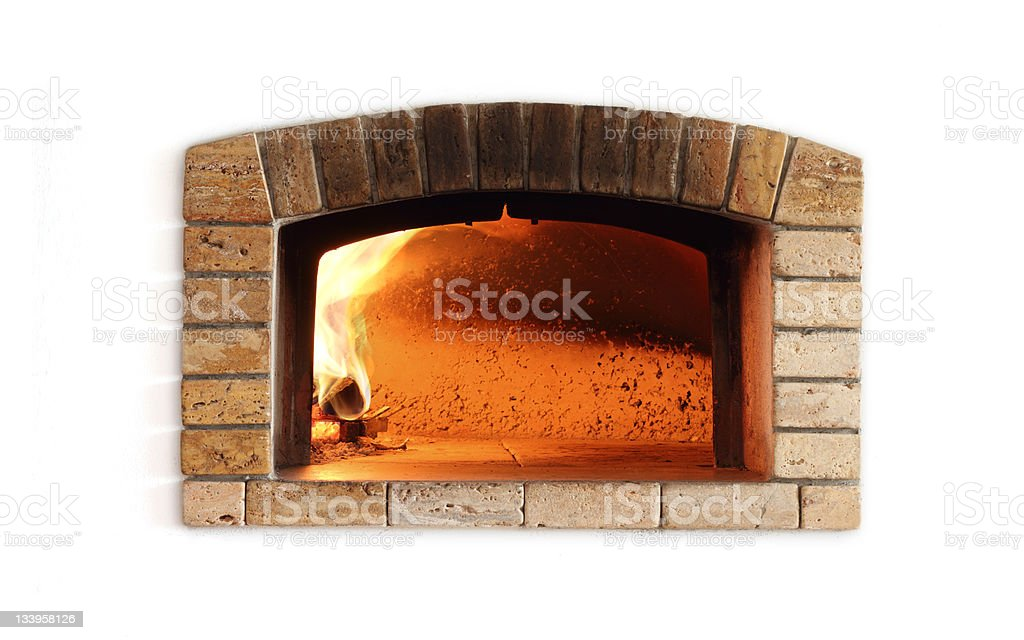 Traditional oven for pizza (isolated on white) stock photo