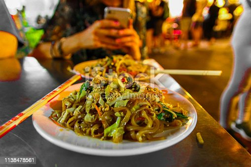 A photo of a Traditional Pad Thai on Bangkok street