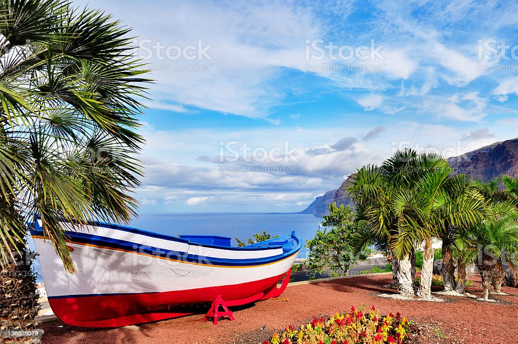 Traditional Painted Fishing Boat, Tenerife stock photo