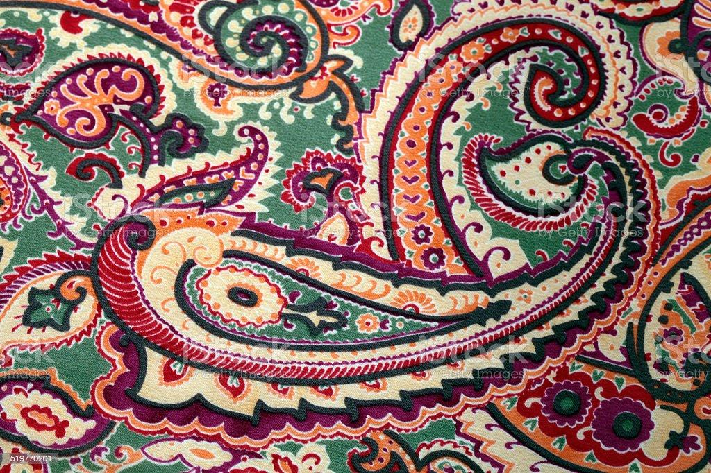 Traditional paisley pattern silk background stock photo