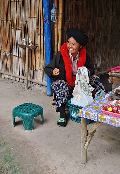 Traditional Palaung Woman Embroidering, Thailand stock photo