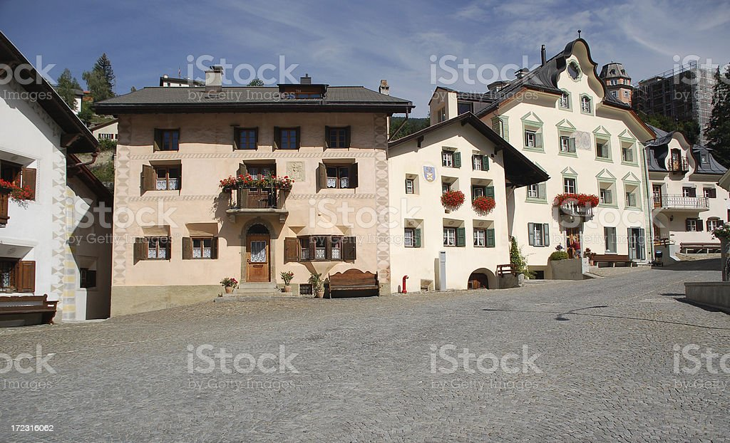 Traditional Part of Scuol stock photo