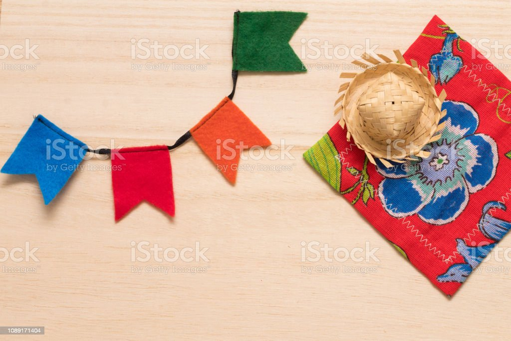Traditional party supplies for the typical brazilian festival \