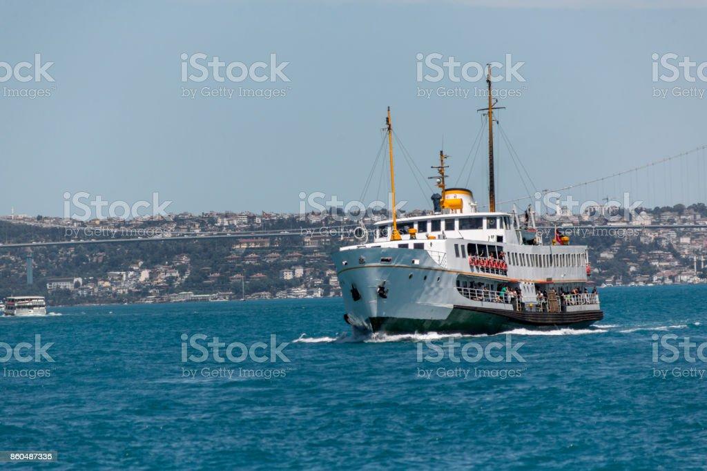 traditional passenger boat at coast of bosphorus in besiktas istanbul turkey stock photo