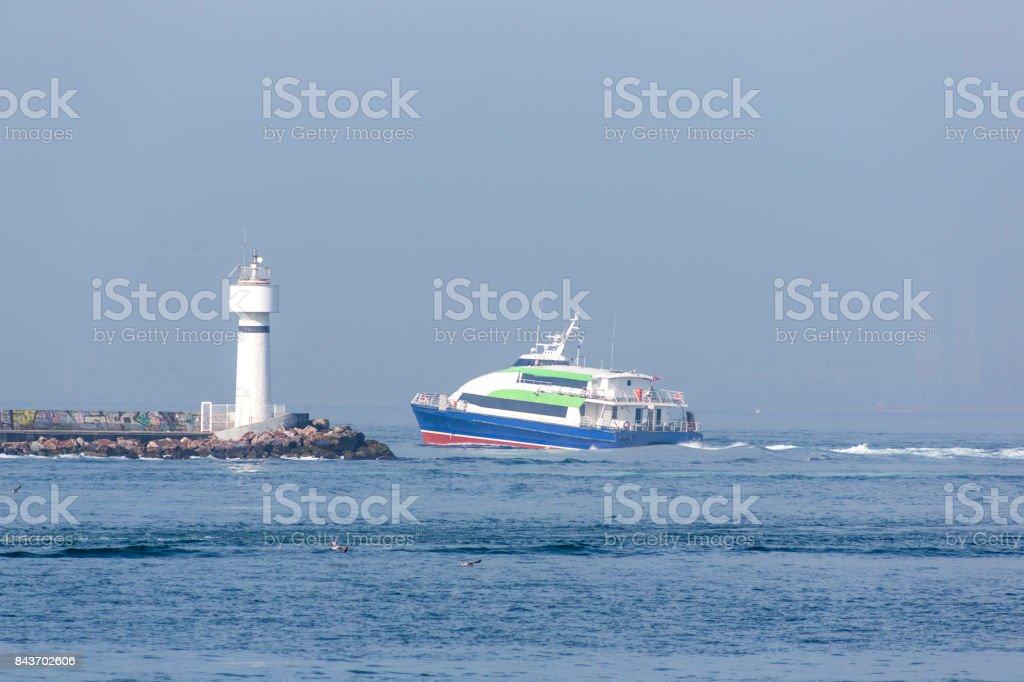 traditional passenger boat seabus at coast of bosphorus near kadikoy istanbul turkey stock photo