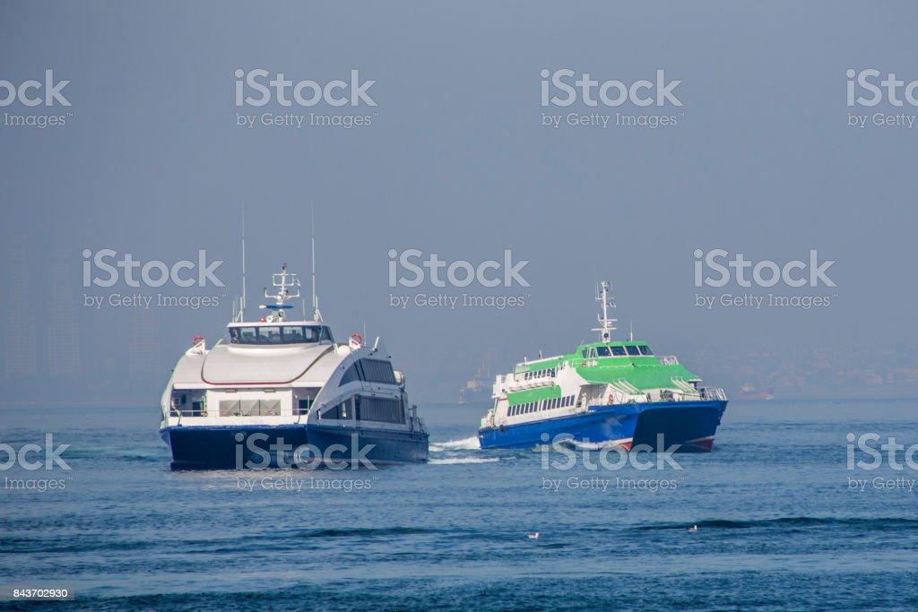 traditional passenger boat seabuses at coast of bosphorus near kadikoy istanbul turkey stock photo