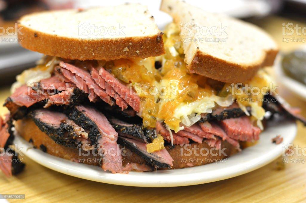 Traditional pastrami sandwich, New York City, USA stock photo