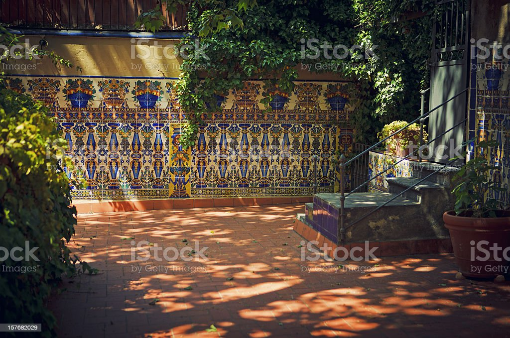 traditional patio in seville stock photo