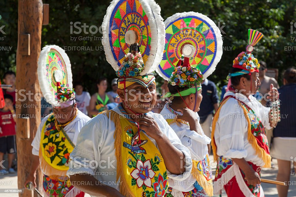 Traditional Performers at Xcaret Park Cancun Mexico stock photo