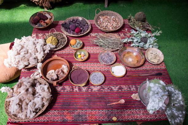 Traditional Peruvian Natural Fabric Colouring And Dyeing Ingredients stock photo
