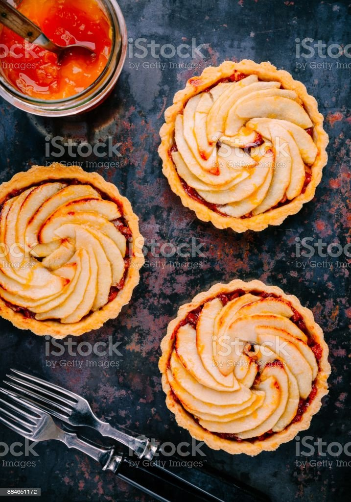 traditional pies apple tarts stock photo