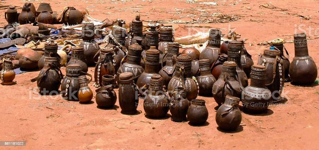 Traditional pitchers and pots at handicrafts local market Kei Afer, Omo valley, Ethiopia stock photo