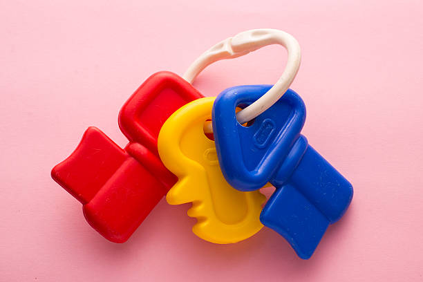 Traditional Plastic Baby Toy of Keys on Ring stock photo