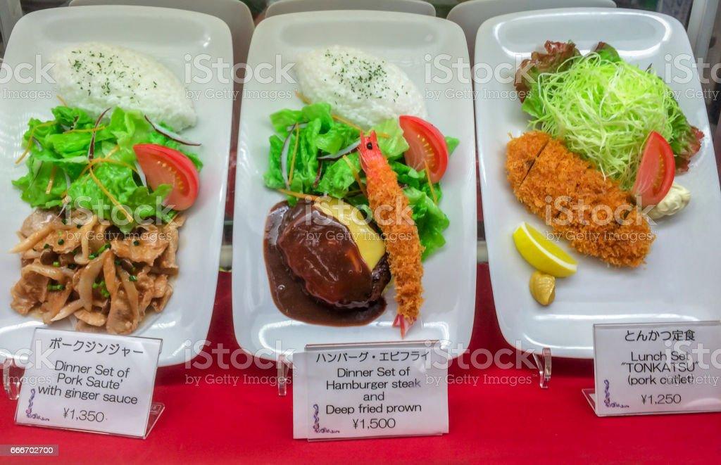 Traditional plastic food Menu window in Japan stock photo
