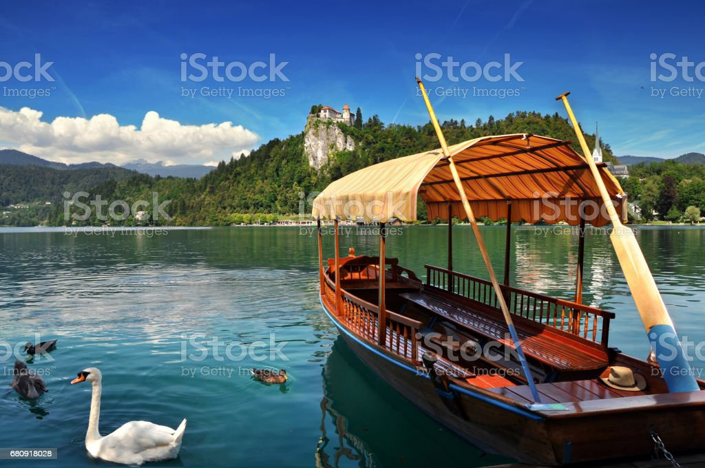 Traditional Pletna boat on the lake with swans. In the background is the famous old castle on the cliff.Bled lake Slovenia,Europe stock photo