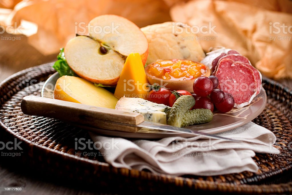 Traditional Ploughman's Lunch stock photo