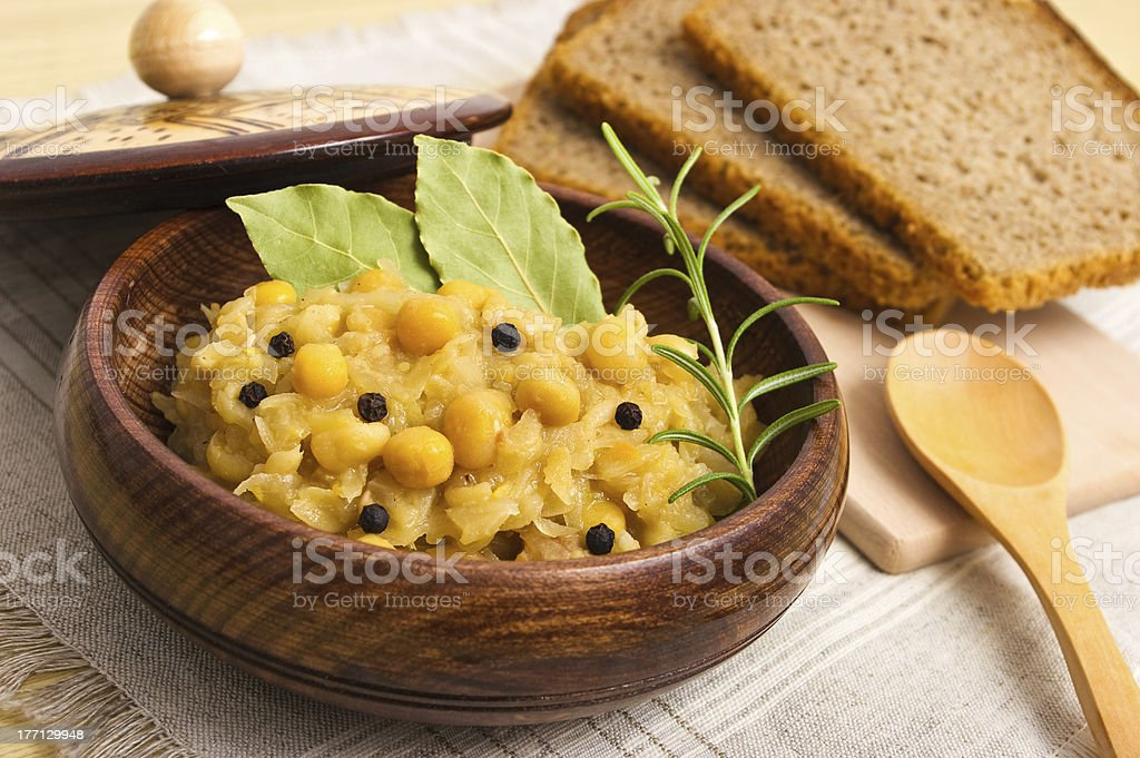 Traditional polish peas with cabbage royalty-free stock photo