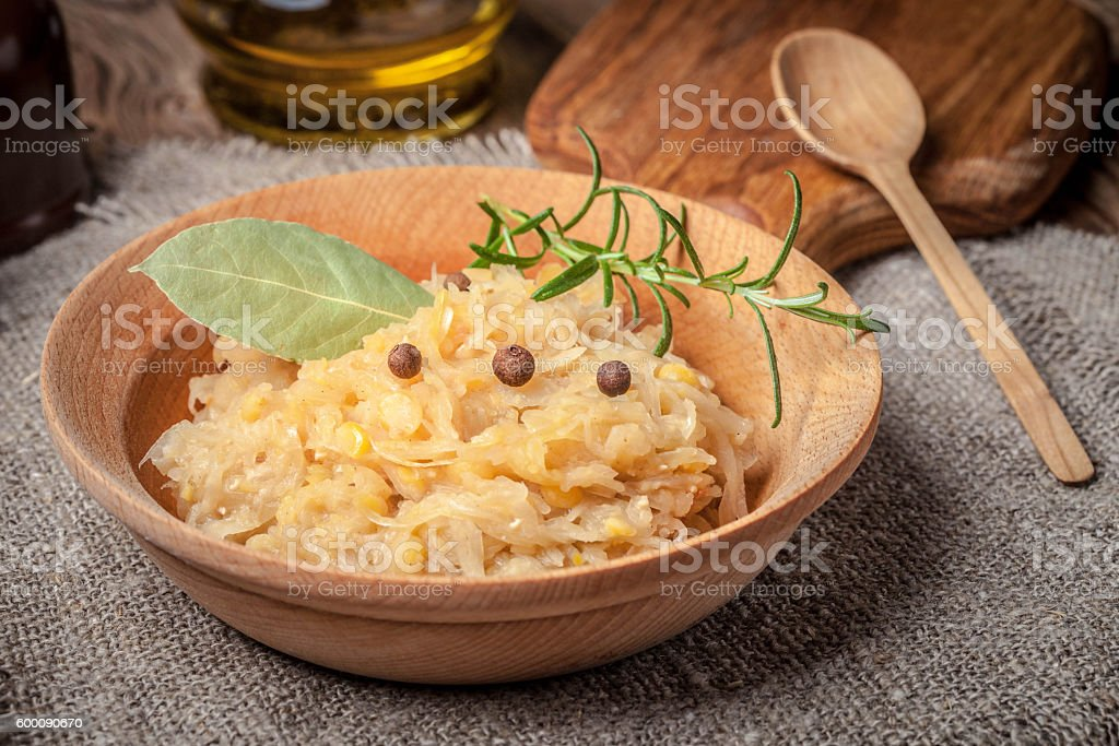 Traditional polish peas with cabbage. stock photo