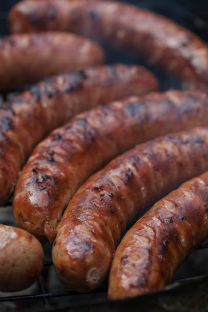 Traditional Polish sausages. stock photo