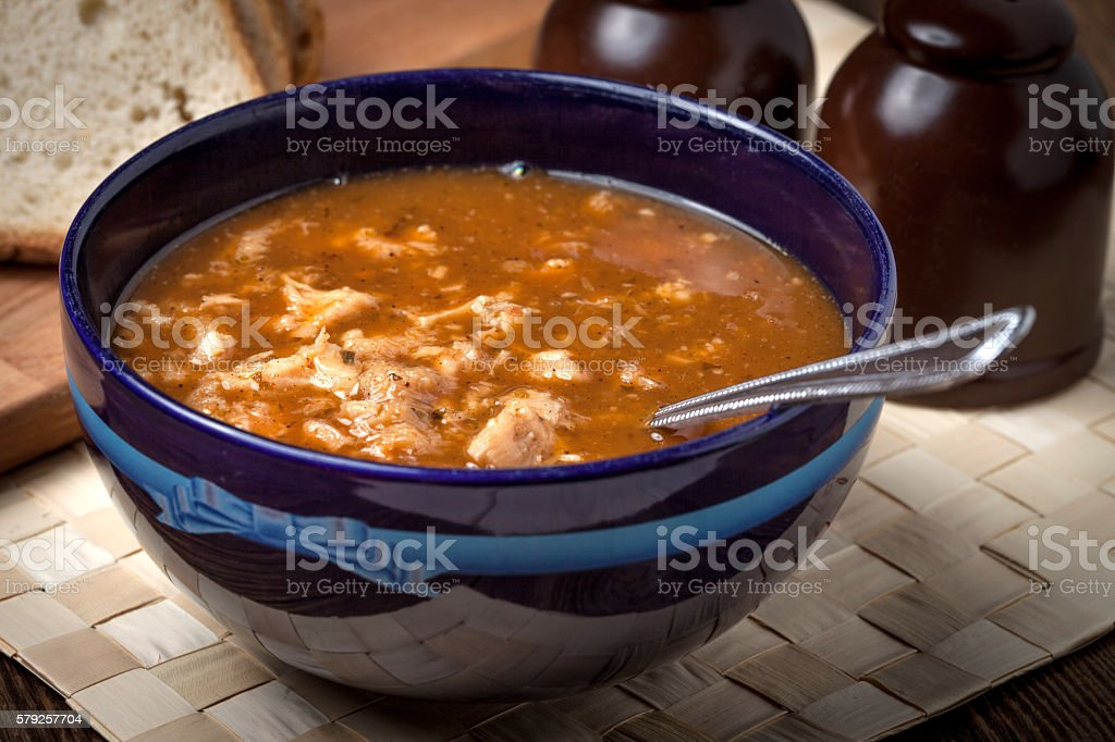 Traditional polish tripe soup with vegetables. – Foto