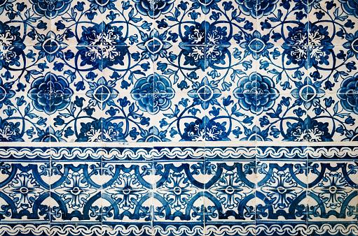 traditional portuguese azulejos, typical tin glazed white and blue ceramic tiles