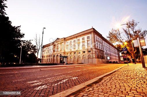 A Traditional Portuguese Building (university Of Porto Building) Close to Igreja dos Clérigos In Porto, Portugal