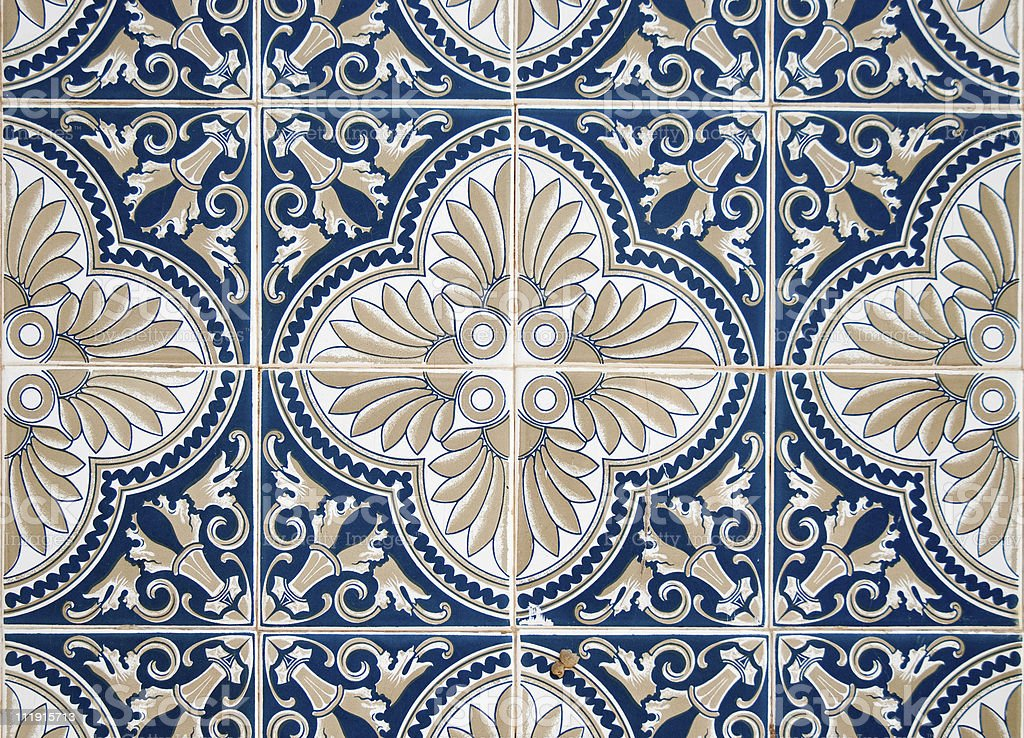 Traditional Portuguese glazed tiles royalty-free stock photo