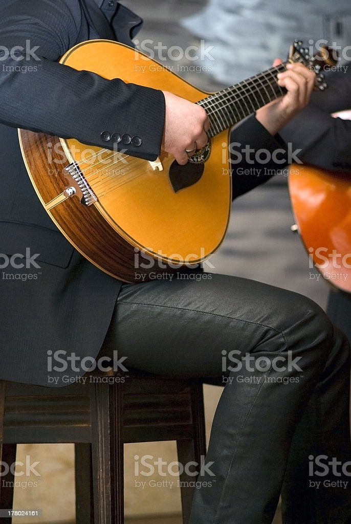 Traditional portuguese guitar stock photo